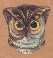 Victorian Trade Card Die Cut Owl Colburn's Philadelphia Mustard