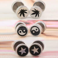 1PAIR MEN'S BOY'S COOL BARBELL PUNK GOTHIC STAINLESS STEEL EAR STUDS EARRINGS