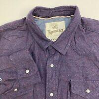 Roebuck & Co Snap Up Shirt Mens 2XL XXL Blue Orange Short Sleeve Flannel Pockets
