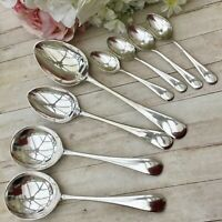 ANTIQUE SPOONS x8 - SOUP TABLE COFFEE - OLD ENGLISH SILVER PLATE CUTLERY EPNS A1