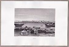 Suez, Ägypten, Panorama, Karawane - Stahlstich, Engraving, Gravure 1861