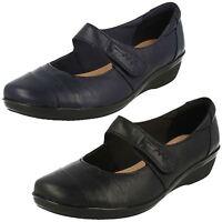 Ladies Clarks Leather Riptape Slip On Shoes UK Sizes 3-8 E Fitt Everlay Kennon