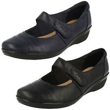 Ladies Clarks Leather Riptape Slip On Shoes UK Sizes 3-8 E Fitt Everlay Kennon