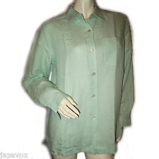 LIZ CLAIBORNE CRAZY HORSE Green Long Sleeve Collar Button Down Shirt Top Women M