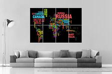 CARTE DU MONDE WORLD MAP 01 Wall Art Poster Grand format A0 Large Print
