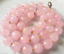 Lovely Faceted 10mm light Pink jade Gemstone Beads Necklace 18 ""
