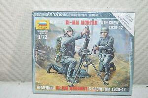 Model Zvezda German Mortar 81-mm With Crew Model Kit New