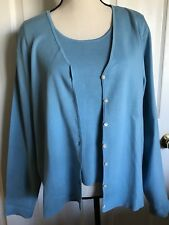 CHARTER CLUB Blue Button Down Knit Jacket & Tank Top Silk Blend Set - Sz XL. NWT