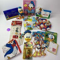 Vintage Lot Of Disney Donald Duck Toys Frames Pens Magnets Plates Floaties Socks