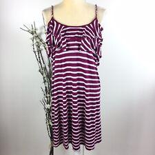 Ella Moss Anthropologie Women Sz L Burgundy Red Striped Tank Top Dress Lined 6A