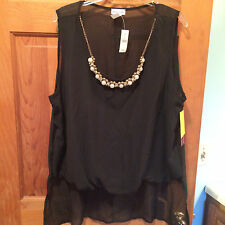 NWT Womens plus size 2X Wet Seal Sheer black top blouse jewel pearl B17