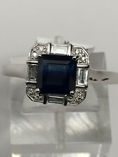 10K White Gold Princess Cut Sapphire and Baguette Round Diamond Ring Size 7