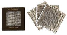 modern-twist Linen Pattern, Chocolate, Silicone Coasters Drink Wine Coaster,