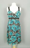 Phase Eight Blue Silk Floral Strappy Floaty Occasion Slip Dress Size 16