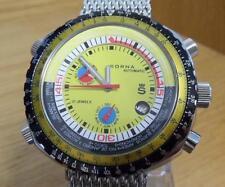 Mens Retro Bullhead Turtle Sorna GMT World Time Automatic Watch Yellow