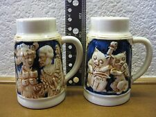 2 Vintage German Mini Beer Steins in Excellent Condition