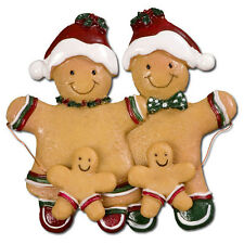 Gingerbread Christmas Ornament Family Two Kids Gift Decoration Q61355