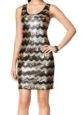 GUESS Sequined Chevron Print Tank Dress Gold Black 10