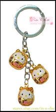 Triple Gold DARUMA HELLO KITTY Bell Keychain Keyring / Bag Charm / Gift