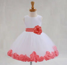 ROSE PETAL FLOWER GIRL DRESS BIRTHDAY CHRISTMAS WEDDING BRIDESMAID HOLIDAY PARTY