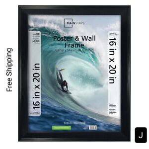 New, Mainstays 16x20 Casual Poster & Picture Frame, Black. With Hanging Hardware