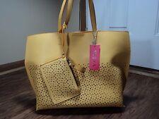 Vieta Butterscotch Yellow Laser Cut Galley Tote Bag In Bag, 3 Piece Set GORGEOUS