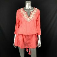 Lands End Tunic Dress L 14 16 Cover Up Coral Red Embroidered 3/4 Sleeve Belt