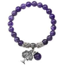 Life Pendant Elastic Bracelet Wristband Natural Chakra Gemstone Amethyst Tree of