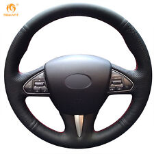 Black Genuine Leather Steering Wheel Cover for Infiniti Q50 2014 2015 QX50 2015