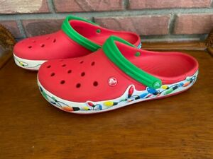 Men's Red Christmas Crocs Shoes~Sz 12~Light Up Christmas Lights