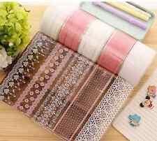 "Lot 3pcs 2"" wide 1.6Yard Decorative Transparent Pink White Lace packing Tape DIY"
