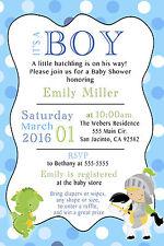 30 Dragon Knight Baby Shower Invitation Card Boy Modern Party Invite Custom B1