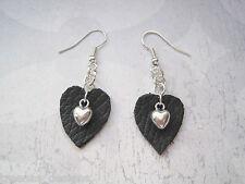 GENUINE BLACK LEATHER HEART CHARM CHAIN SP Drop Earrings GIFT BAG Rockabilly