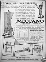 PUBLICITÉ MECCANO 1915 MÉCANIQUE EN MINIATURE TOUR MACHINE A COUDRE AUTOMOBILE