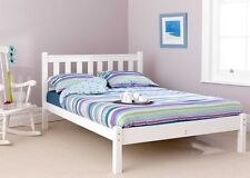 SOLID PINE 5FT KINGSIZE SHAKER WHITE LOW FOOT END BED FRAME MATTRESS EXTRA