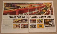 Vintage 1947 Roller Train Timken Ads Bearings Railroad Cars Wheels Freight