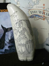 """Scrimshaw Sperm Whale tooth resin replica """" Lady Liberty"""" 6&3/4 """" Very Nice"""