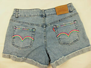 Levi's 70's Style Denim Rainbow Short Shorts Juniors Size 16