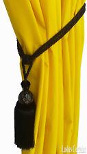 Black Decorative Window Curtain Drapery Wood/Tassel Rope/Cord Tie Back Holdback