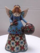 "Jim Shore Heartwood Creek 2002 Angel With Flowers red roses 105169 5.75"" tall"