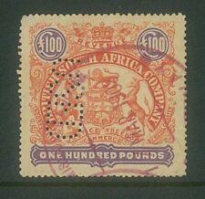 RHODESIA - 1897 £100 Large arms Revenue used (Perf 15) ... (Tear) (EM785)