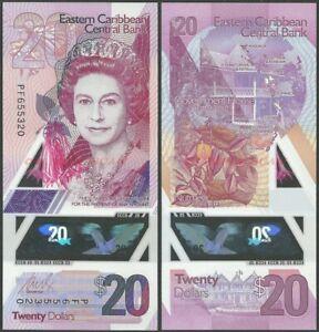 EAST CARIBBEAN 20 DOLLARS 2019 P NEW B242 POLYMER QE II UNC BANKNOTE @ EBS