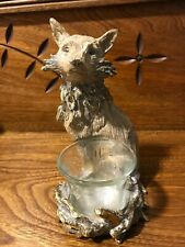 """FOX Carved Polystone Statue Figurine Candle Holder Brown Golden Accent 6.5""""x4.5"""""""