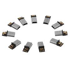 1X(10 Pcs Mini USB 5 Pin Male Plug DIY SMT Connector Silver Tone Dark Gray Q3Y6)