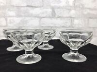 Set Of 4 Vintage Clear Pressed Glass Champagne Ice Cream Sherbet Footed Glasses