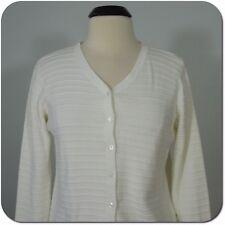 LAURA SCOTT Women's White Button Front Cardigan Sweater, size M
