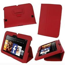 "rooCASE for Amazon Kindle Fire HD 7"" (2012) - Ultra-Slim Leather Red Lot C9"