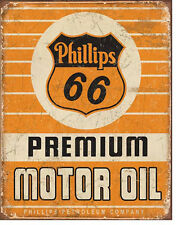 PHILLIPS 66 PREMIUM OIL - LARGE METAL TIN SIGN 40.6CM X 31.7CM GENUINE AMERICAN