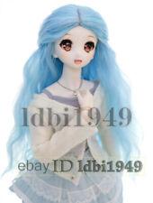 "8-9/"" 1//3 BJD Wig Pullip BJD SD LUTS MSD DOD Dollfie Doll Long Blue Wgs with Bow"
