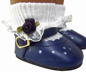 "Navy Blue Shoes & Rosebud Socks for 18"" American Girl Doll Clothes"